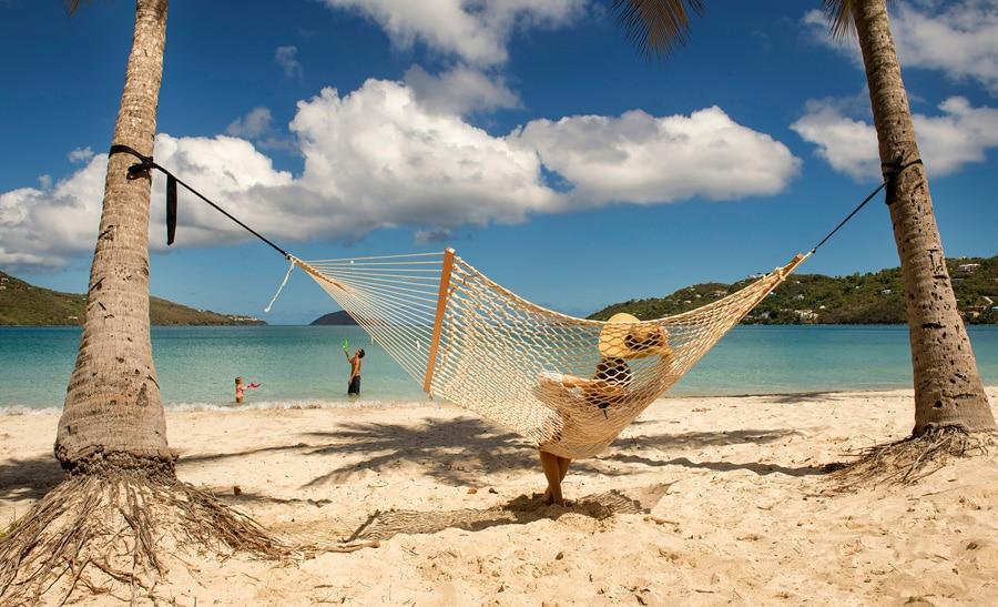 Sitting in a hammock in St. Thomas