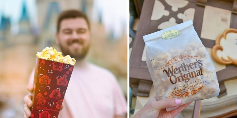 Popcorn Offerings at Walt Disney World Resort - Popcorn at Magic Kingdom Park and Caramel Popcorn from Karamell Kuche at the Germany pavilion at Epcot