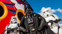 Darth Vader and Stormtroopers aboard the Disney Fantasy for Star Wars Day at Sea