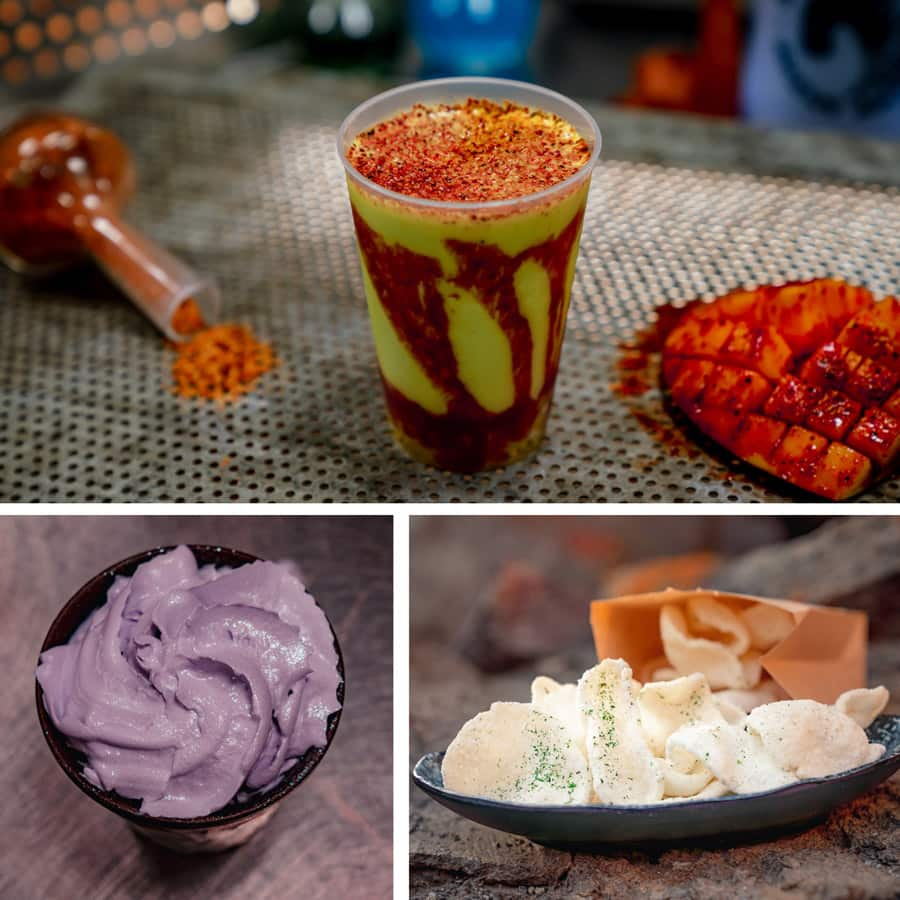 Collage of Toydaria Swirl, Black Spire Hot Chocolate and Galma Garlic Puffed Cheese Chips