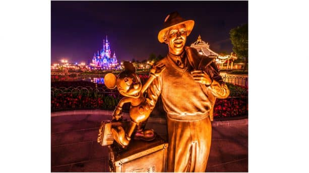 Disney Parks After Dark: Storytellers Statue at Shanghai Disneyland