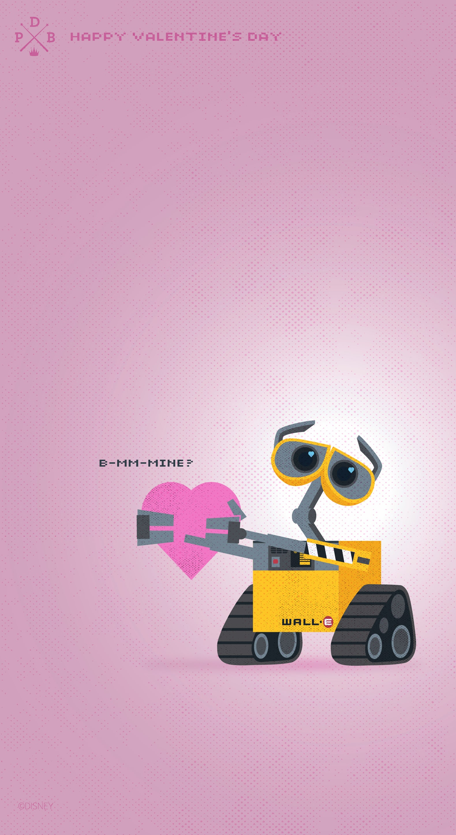Celebrate Valentine S Day With Wall E Wallpaper Iphone Android Disney Parks Blog