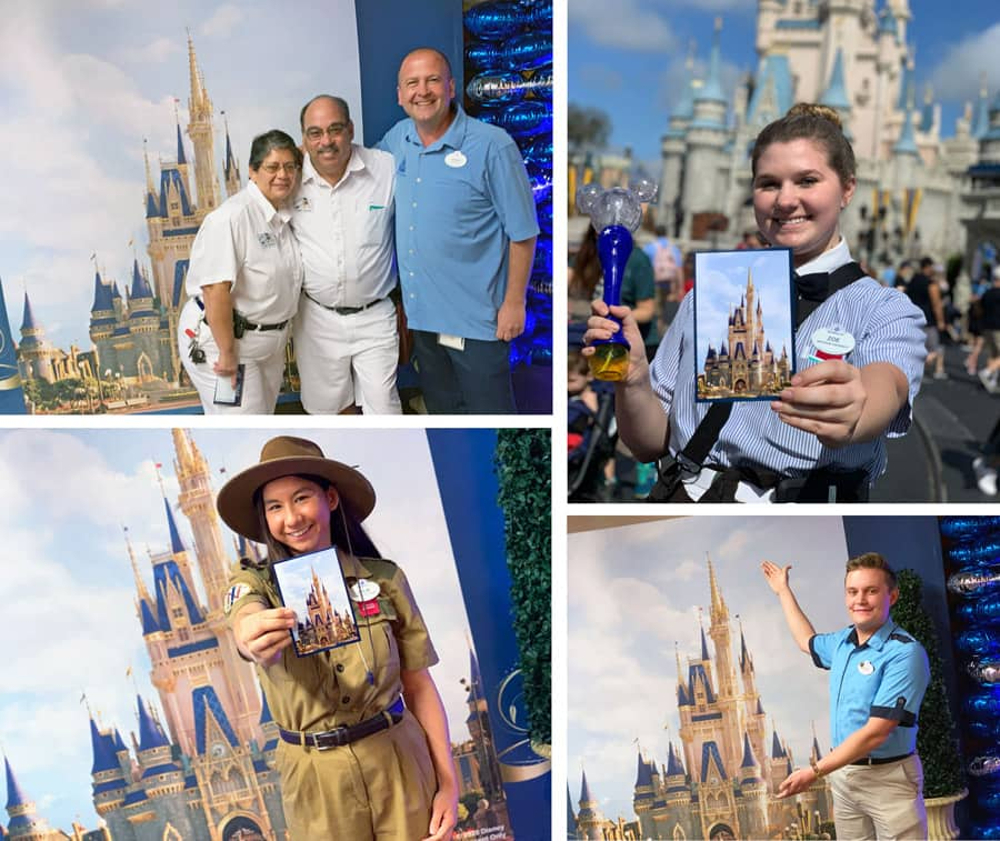 Cast members pose with Cinderella Castle makeover concept image