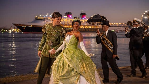 Princess Tiana, Prince Naveen and members of the traditional New Orleans Treme Brass Band celebrate the Disney Wonder setting sail on inaugural voyage from New Orleans