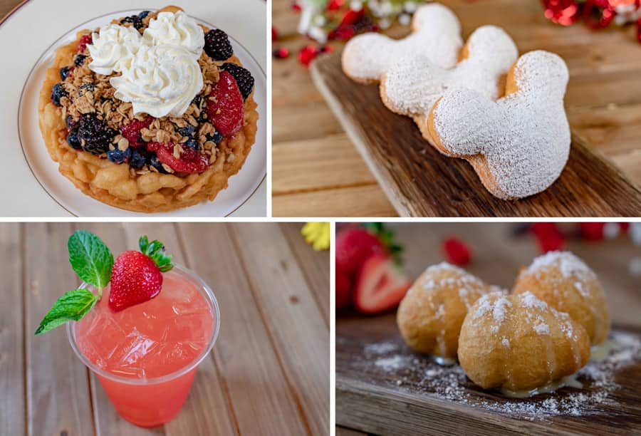 2020 Valentine's Season Offerings at Disneyland Park - Berry Cobbler Funnel Cake, Chocolate-Strawberry Beignets, Strawberry Julep, Berry Cheesecake Fritters