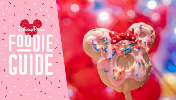 Foodie Guide to Valentine's Season 2020 at Disneyland Resort featuring the Minnie Donut Crispy Treat