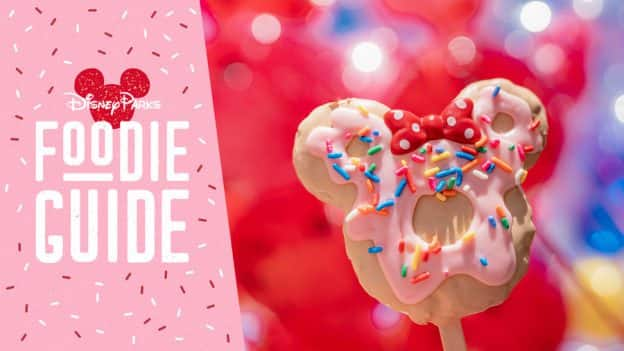 Foodie Guide to Valentine's Season 2020 at Disneyland Resort featuring the Minnie Donut Crispy Treat