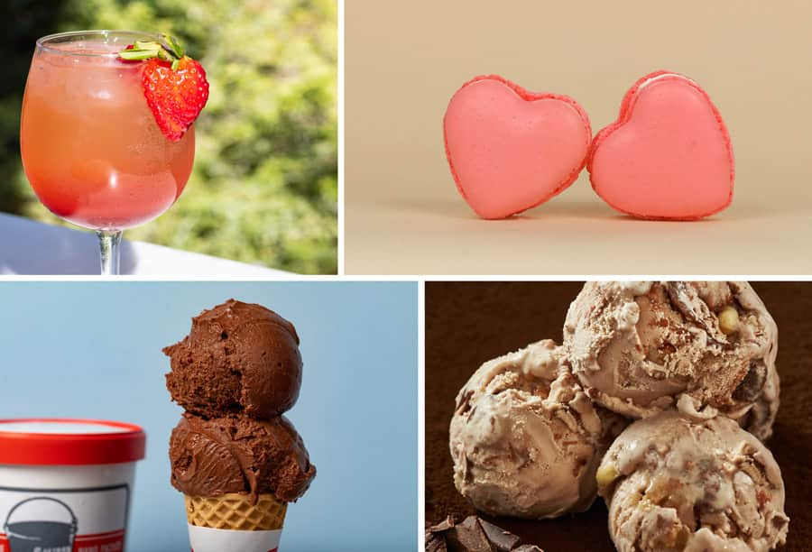 2020 Valentine's Season Offerings at Downtown Disney District - Spritz in Love, Rose Champagne Heart Macaron. Nibbles 85% Peruvian Chocolate Vegan Sorbet, Milla's Chocolate Hazelnut Praline Ice Cream
