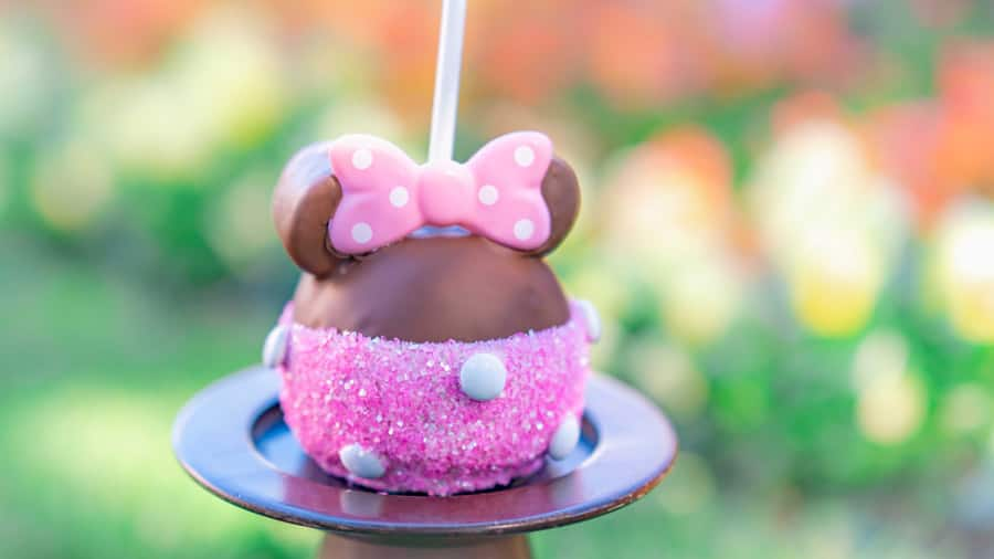 Pink Minnie Candy Apple for Valentine's Season at Disneyland Resort