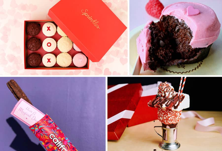 2020 Valentine's Season Offerings at Downtown Disney District - Sprinkles cupcakes box, Raspberry Chocolate Chip cupcake, Chocolate-covered Strawberry Churro, Red Velvet Cake Shake