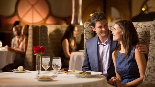 Couple dining on Disney Cruise Line