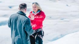 Couple getting engaged in Alaska