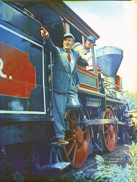 Walt on location for the filming of The Great Locomotive Chase.