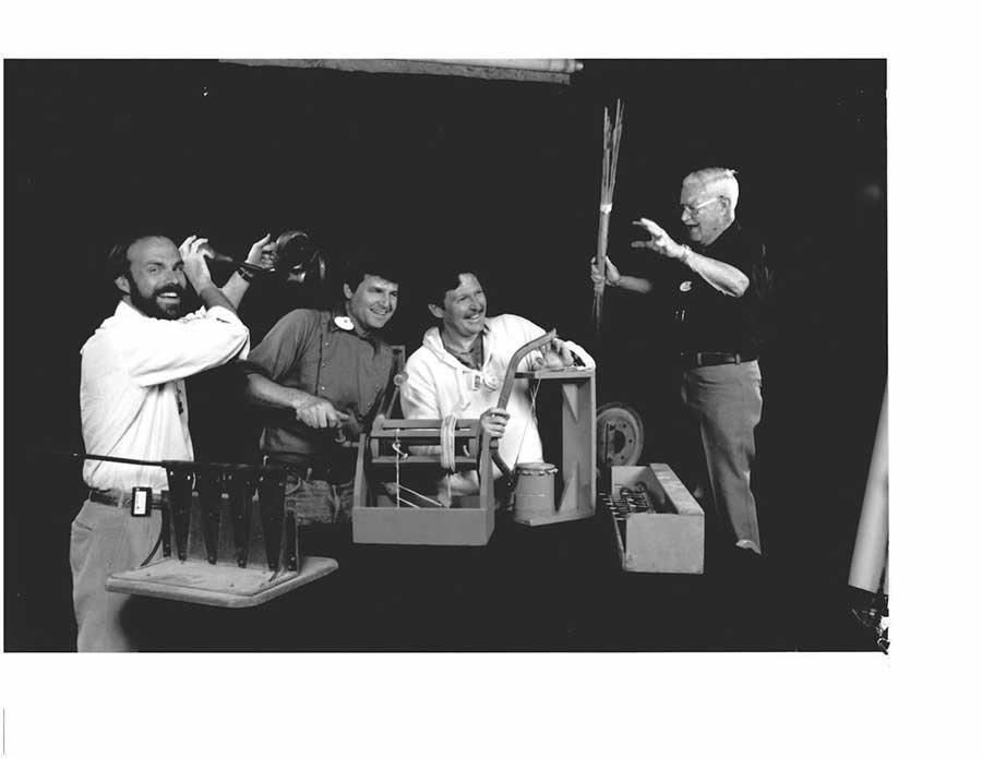 Kevin Rafferty, Joe Herrington, Mark Rhodes, under the baton of maestro Jimmy Macdonald, sound off in this 1989 publicity photo.