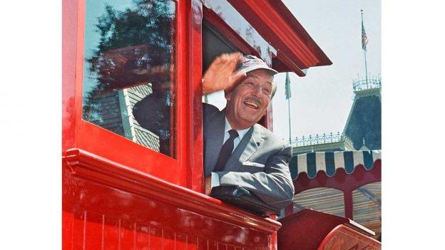 Walt Disney on a train