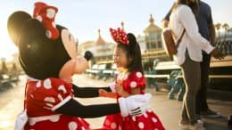 Girl meeting Minnie Mouse