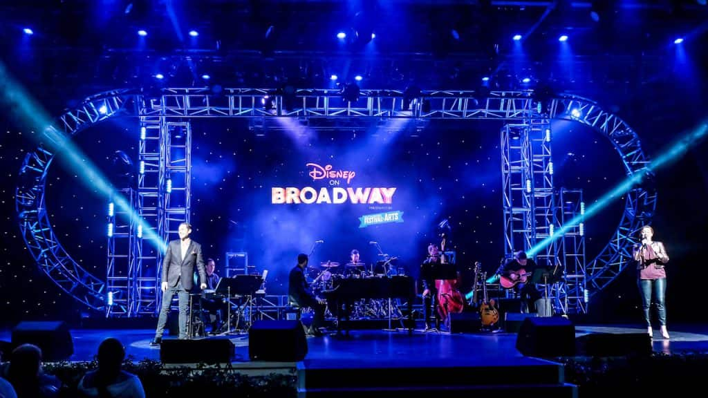 The Disney on Broadway Concert Series offers daily performances are at 5:30 PM, 6:45 PM and 8:00 PM until February 24, 2020. © Disney