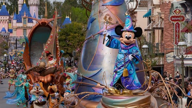 Mickey Mouse in the 'Magic Happens' Parade at Disneyland Park