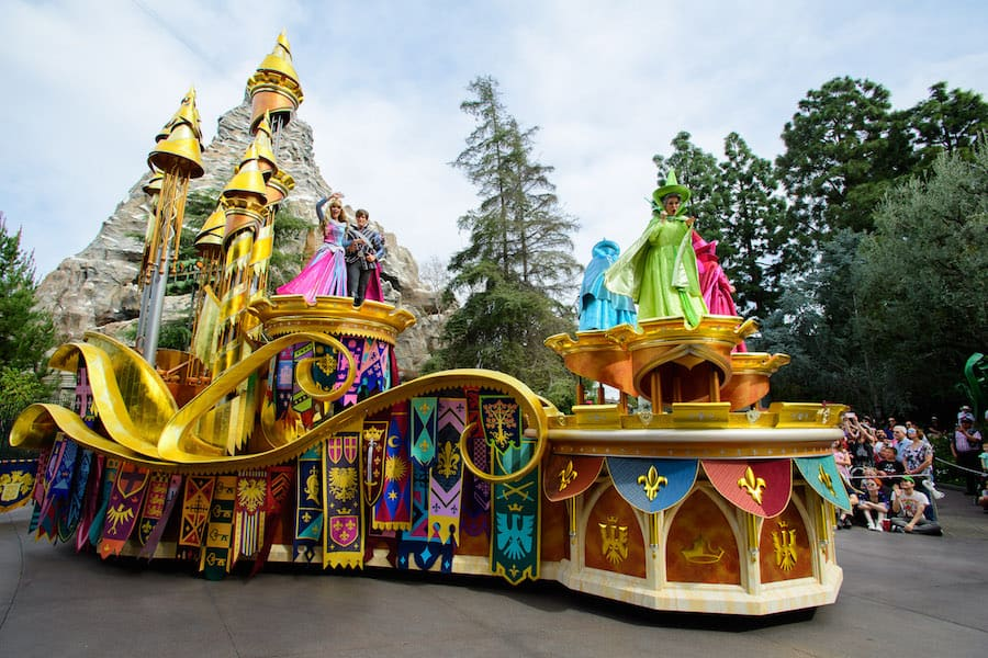 'Sleeping Beauty' float in the 'Magic Happens' Parade at Disneyland Park