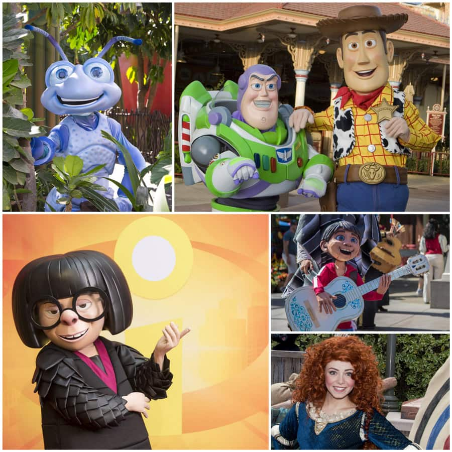 "Flik from ""A Bug's Life,"" Buzz and Woody from ""Toy Story,"" Edna Mode from ""The Incredibles,"" Miguel from ""Coco,"" and Merida from ""Brave."""