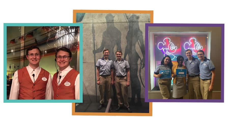 Collage of cast members and brothers Michael and Scott Stile at Walt Disney World Resort