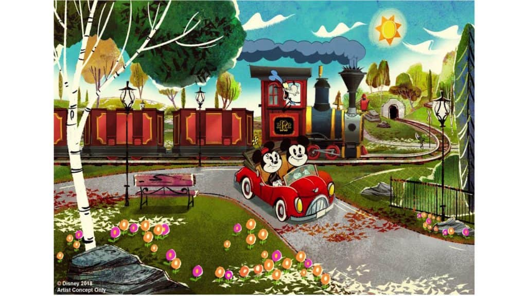 Rendering of Mickey & Minnie's Runaway Railway