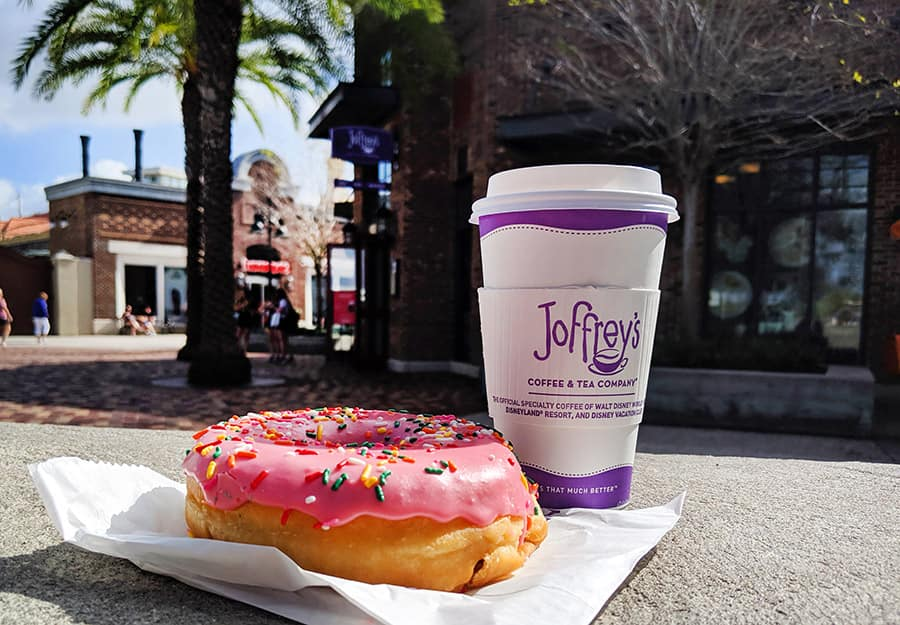 Joffrey's Coffee and Tea at Disney Springs and a donut