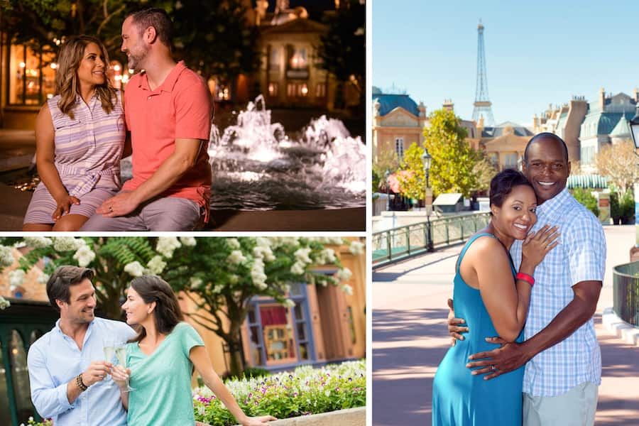 Valentine's Day photo options from Disney PhotoPass Service around Epcot's World Showcase