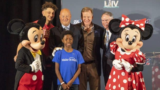 Super Bowl MVP Patrick Mahomes, Chairman of Disney Parks, Experiences & Products Bob Chapek, NFL Commisioner Roger Goodell and Make-A-Wish CEO Richard Davis congratulate 10-year-old Nathaniel