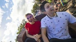 Meg Donnelly and Milo Manheim on Seven Dwarfs Mine Train