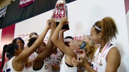 Girls basketball team celebrating