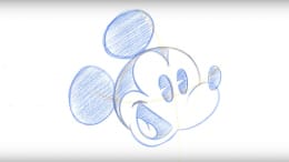Drawing of 'Pie-Eyed' Mickey Mouse