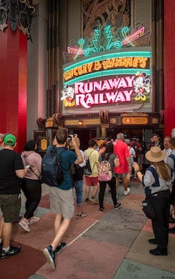 Guests at Mickey & Minnie's Runaway Railway