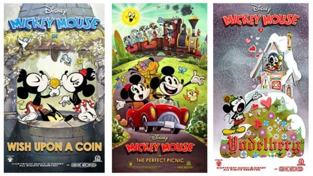 collage of posters for Mickey Mouse shorts