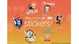 collage of messaging stickers form Disney, Marvel, Pixar and Star Wars