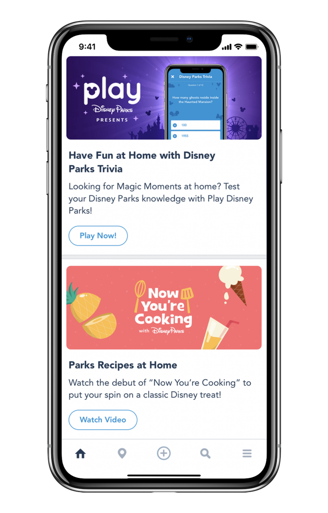 Play Disney Parks app screen