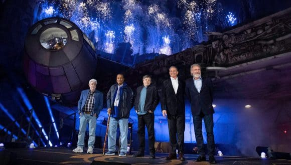 Star Wars icons George Lucas, Harrison Ford, Mark Hamill and Billy Dee Williams joined Disney Chairman Bob Iger for the historic dedication ceremony in front of the fastest hunk of junk in the galaxy, the Millennium Falcon.