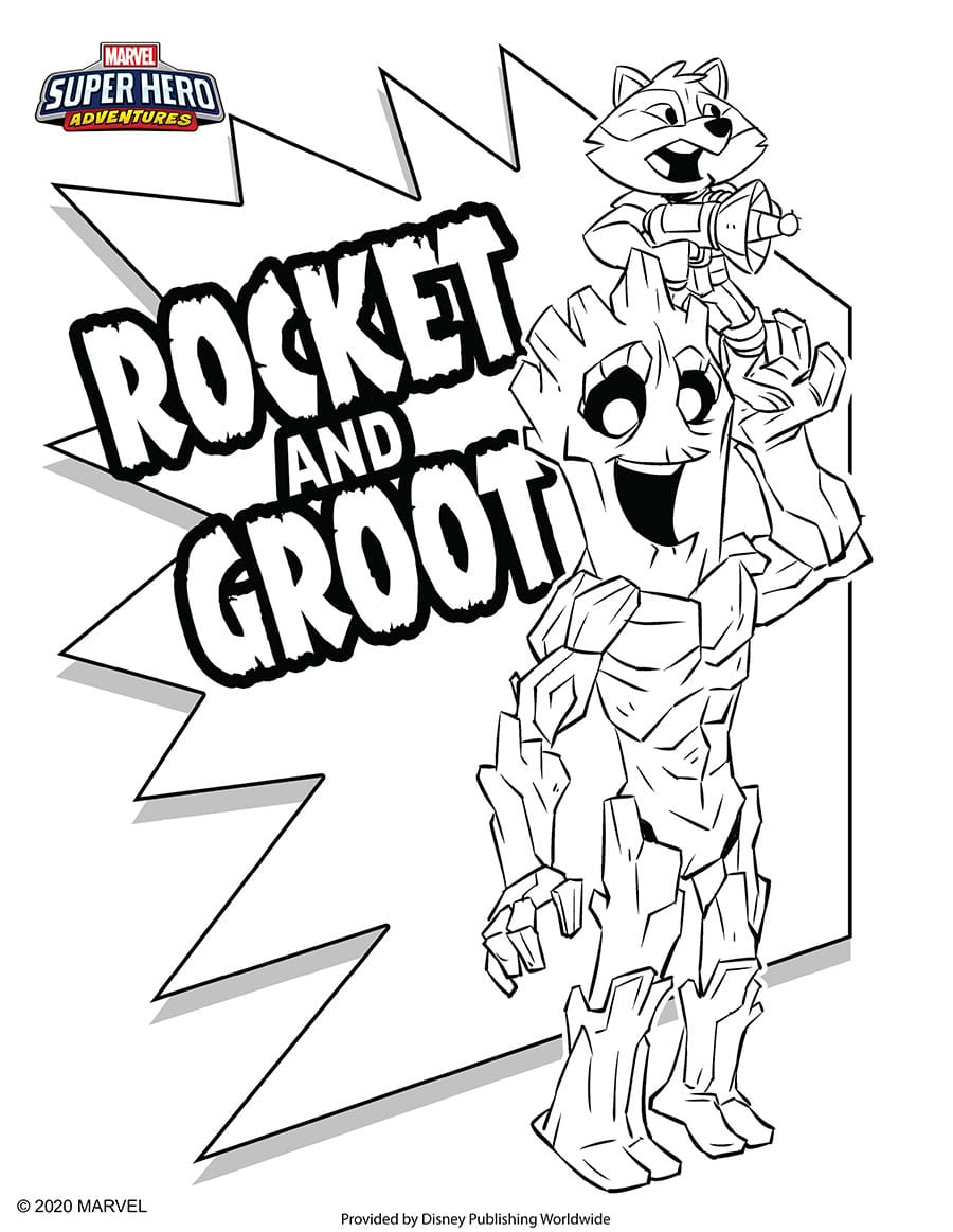 Rocket and Groot Coloring Sheet