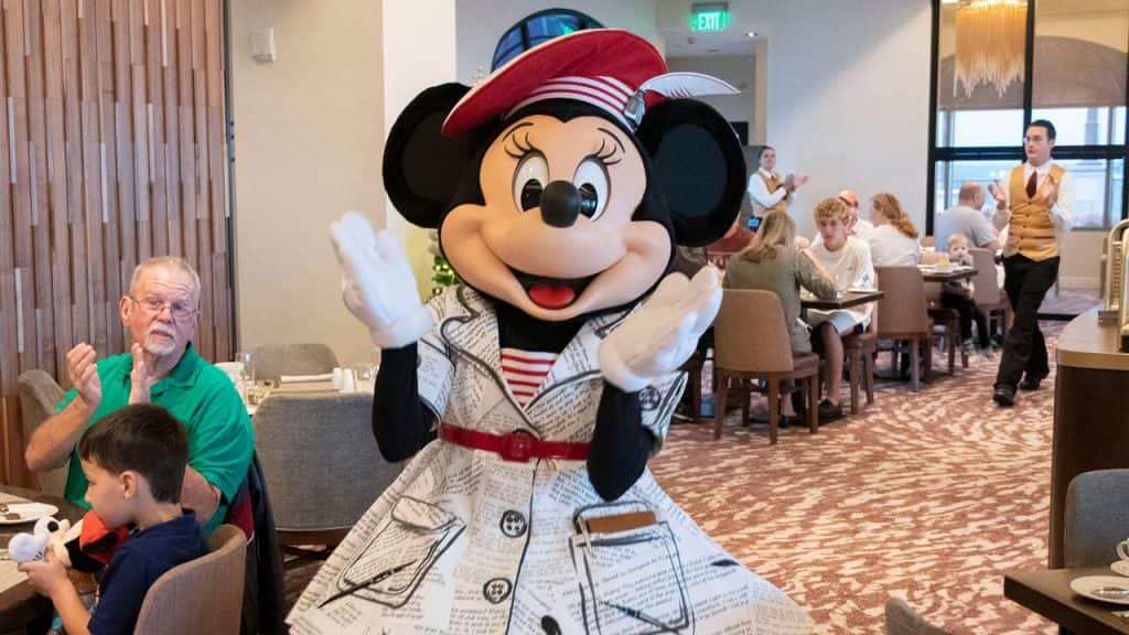 Minnie, in her special dress, visiting Topolino's – Flavors of the Riviera at Disney's Riviera Resort, a Disney Vacation Club Resort