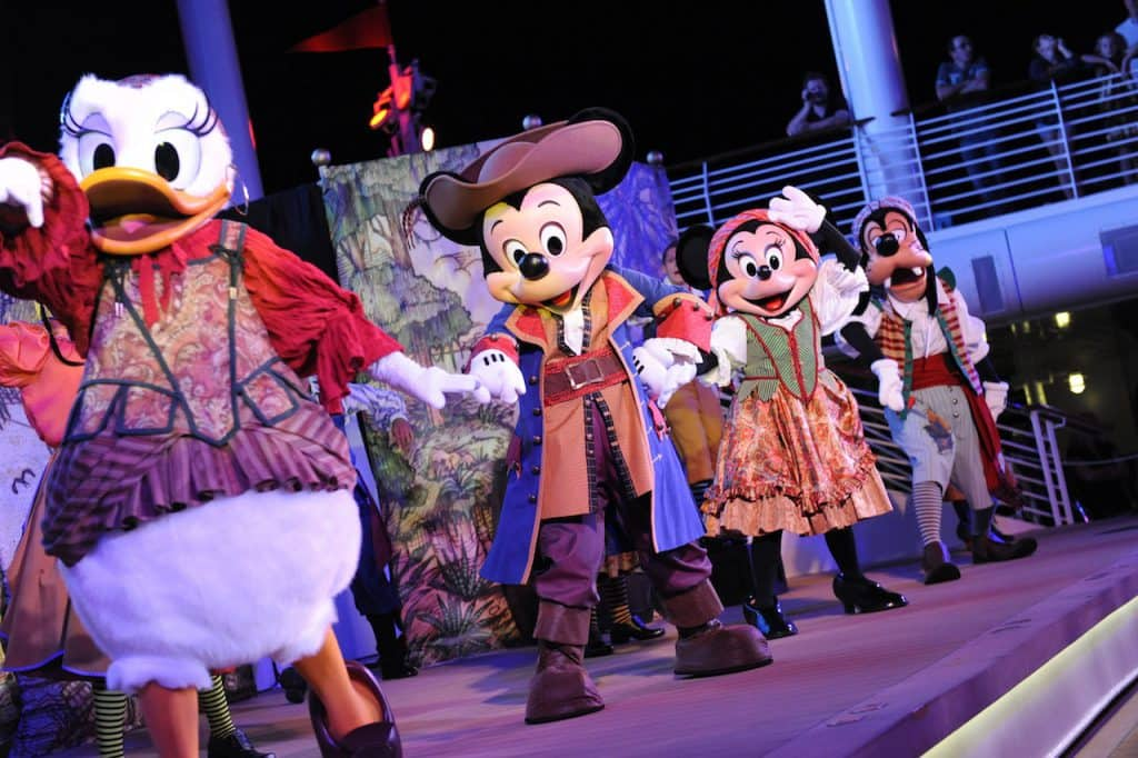 #DisneyCruiseLife at Home: A Pirate Life for You! Daisy, Mickey Minnie and Goofy during Pirate Night on Disney Cruise Line