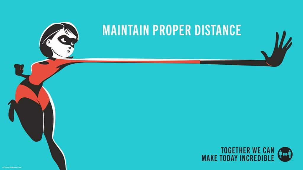 Practice physical distancing with Mrs. Incredible