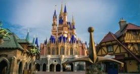 Newly painted Cinderella Castle at Magic Kingdom Par
