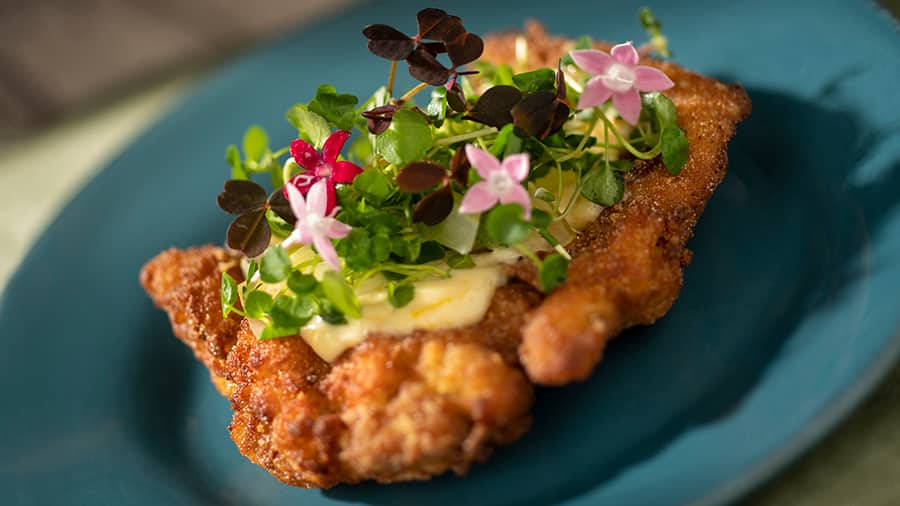 Offerings from The Citrus Blossom Marketplace for the 2020 Epcot Taste of International Food & Wine Festival - Crispy Citrus Chicken with Orange Aïoli and Baby Greens (Gluten/Wheat Friendly)