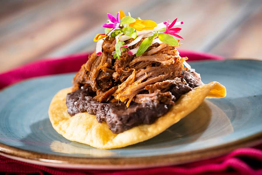 Offerings from Mexico Marketplace for the 2020 Epcot Taste of International Food & Wine Festival - Pork Tostada: Fried Corn Tortilla topped with Chipotle Black Beans, Roasted Pork, Fresh Salsa Verde, Onions, and Cilantro