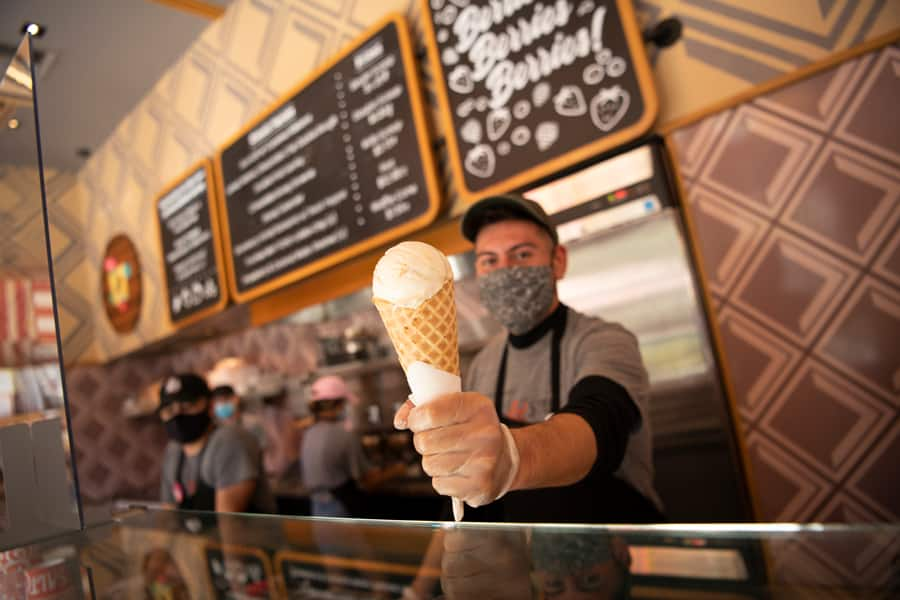 Welcome Back to Downtown Disney District, Phased Reopening Begins Today at Disneyland Resort Salt & Straw scoop shop in the Downtown Disney District at Disneyland Resort
