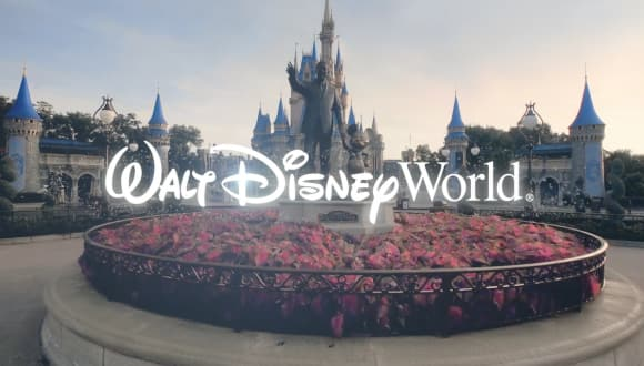 Walt Disney World logo over a picture of Cinderella Castle