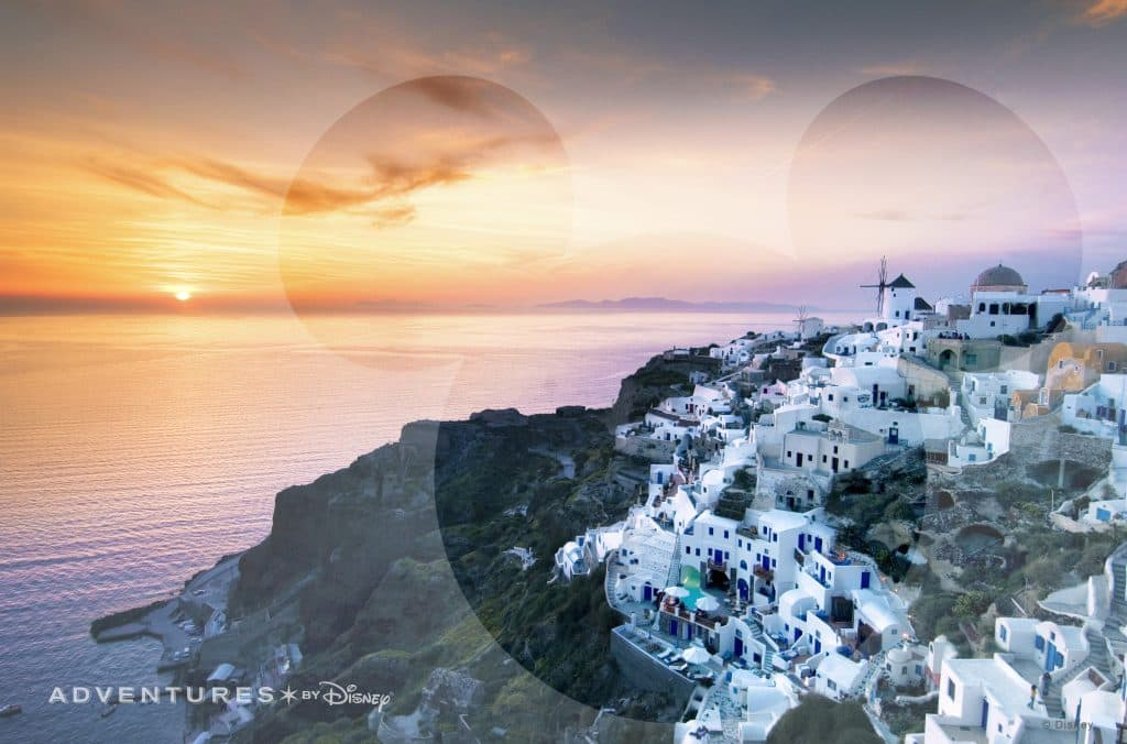 Adventures by Disney Virtual Backdrop: A bird's eye view of the breathtaking island of Santorini