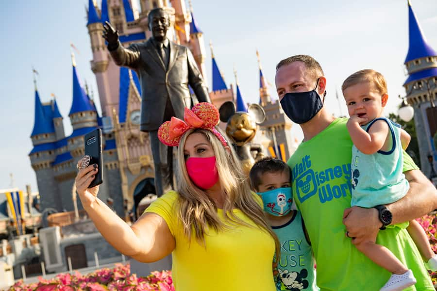 Family takes a selfie at Magic Kingdom Park