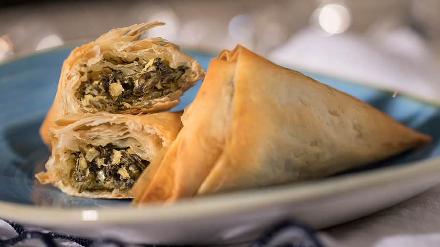 Offerings from Wine & Dine Marketplace for the 2020 Epcot Taste of International Food & Wine Festival - Spanakopita, Greece