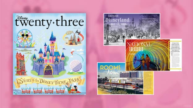 Collage of image featured in the 2020 fall edition of Disney Twenty-Three